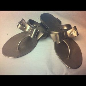 Coach Bow Flip Flops Gold size 8 Worn once